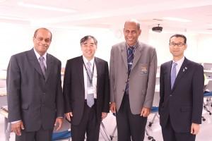 左から、ジョン・ウサマテ 保健大臣、八重樫伸生 病院長、イシメリ・トゥカナ アドバイザー、守屋隆之 在仙台フィジー共和国名誉総領事